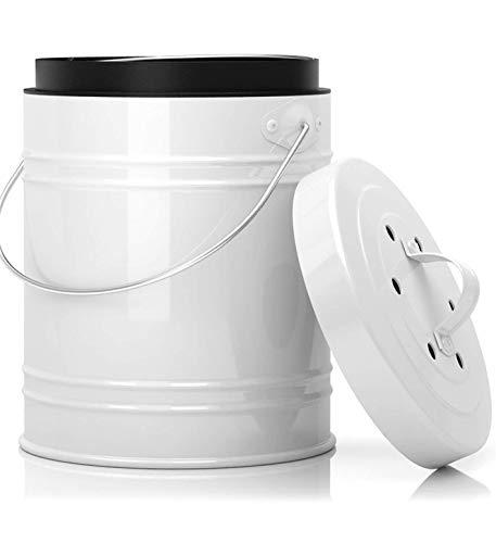 Bac à Compost de Cuisine Surdimensionné de 5 Litres avec Bac en Plastique & Filtres à Charbon en Blanc/Noir – Construction Robuste & Fermeture Etanche pour Prévenir des Insectes et Odeurs