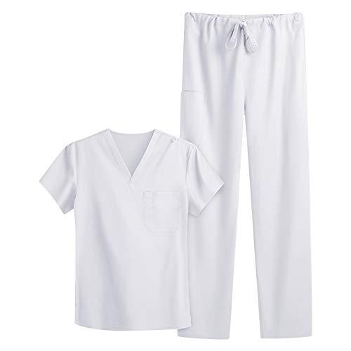 UNHU Arbeitskleidung Pflege Damen Schlupfkasack Schlupfhose Set Einfarbig V-Ausschnitt Kasack Kurzarm Berufsbekleidung Zwei Taschen Krankenpfleger Uniformen mit Oberteil Hose (M, Weiß)