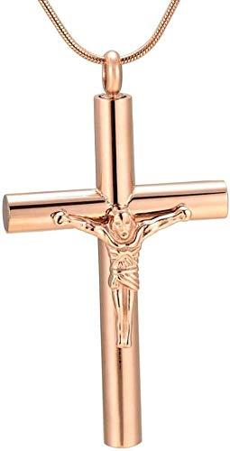 TYBM Novedad Collares Colgantes Joyería para Hombre Colgante De Collar Cruz Grande Cremación Caja Pequeña Colgante De Ceniza para Hombre-E