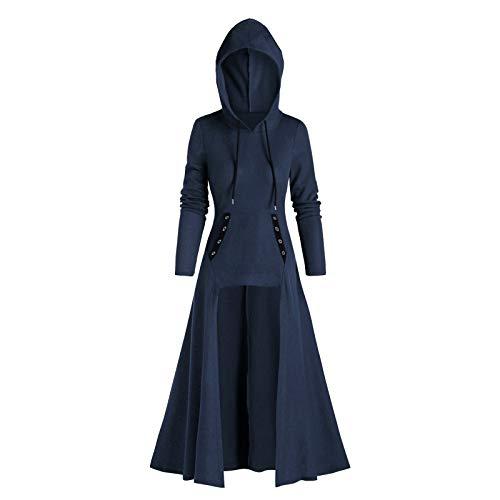 Vestido retro para mujer, estilo gtico, con capucha, manga larga, disfraz vintage medieval, para fiesta, disfraz de renacentista