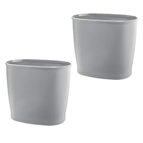 mDesign 2er-Set ovaler Abfalleimer aus Kunststoff – bruchsicherer Mülleimer – kleiner Papierkorb für Küche, Badezimmer, WG-Zimmer, Büro – grau