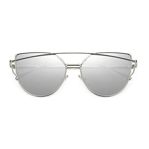 NNAA Gafas de sol Cat Eye Vintage Rose Gold Mirror Gafas de sol para mujer Gafas de sol de lente plana reflectantes de metal