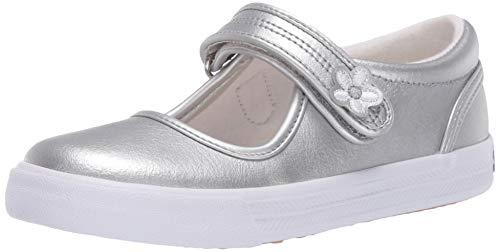 Keds Kids Girls' Ella Leather Mary Jane Sneaker, Silver, 8.5 Toddler M