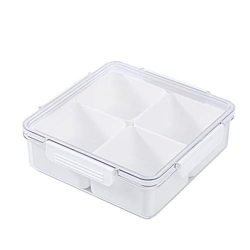 Shopwithgreen Bandeja dividida portátil para servir de fiesta, 5 compartimentos, organizador redondo de almuerzo, bandeja para aperitivos con tapa para bodas, hogar, oficina, fiesta, color blanco