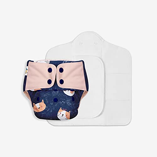 SuperBottoms Freesize UNO - Washable & Reusable Cloth Diaper containing 1 Waterproof Outer + 1 Organic Cotton Dry Feel pad +1 Booster pad [Day & Night Use] (for Babies 5 KG- 17 KG) – Good Cat-titude