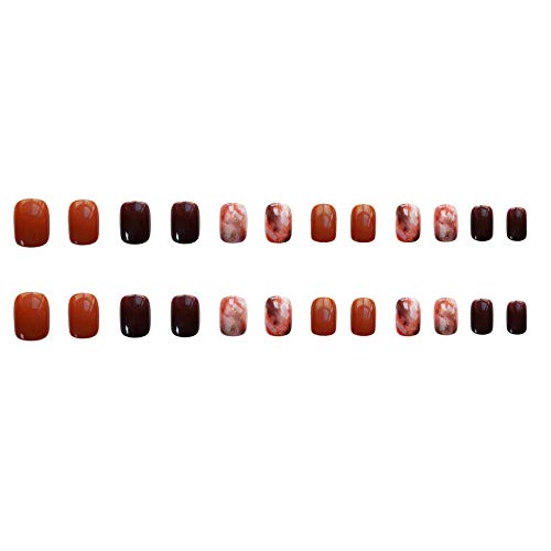CLOAAE 24PCS orange cafe dye healthy fake nails according to the square short nails on the wearable finished nails easy to assemble girl hand decorati