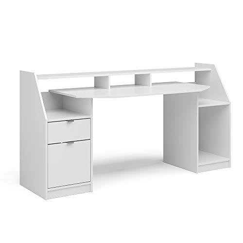 Vicco Computertisch Joel Groß PC-Tisch Gamingtisch Schreibtisch Büromöbel (Weiß)