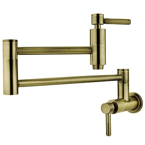 """Kingston Brass KS8103DL Wall Mount Pot Filler Kitchen Faucet, Antique Brass,13"""" Length"""