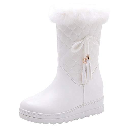 Winter Boots Women Plush Lined Warm Wedge Zip Platform Shoes Ladies Solid...