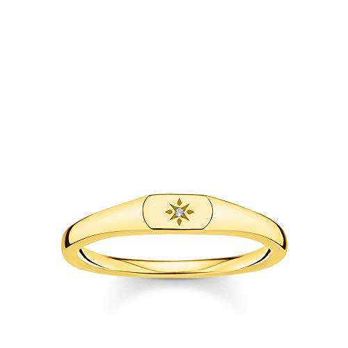 THOMAS SABO Damen Ring Stern Gold 925 Sterlingsilber, 750 Gelbgold Vergoldung TR2314-414-14