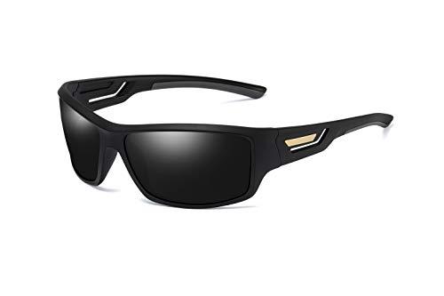 Skevic Polarisierte Sportbrille Sonnenbrille Herren und Damen TR90 Fahrradbrille mit UV400 Schutz - Radbrille für Autofahren Running Skifahren Fischen Radfahren Wandern Golf (Schwarz/Schwarz)