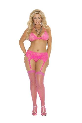 Elegant Moments Damen Plus Queen Size Peyton Stretch Spitze Neckholder-BH, Strapsgürtel & G-String - Pink - X-Groß