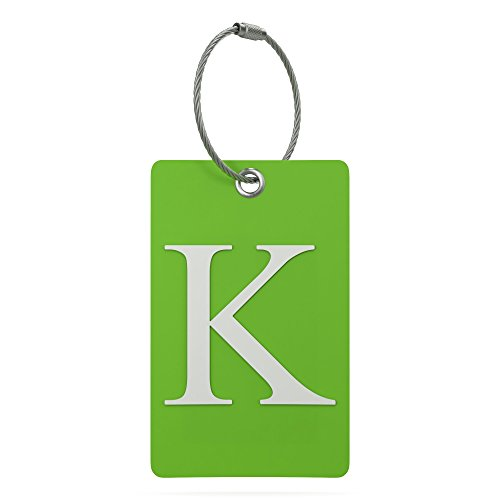 Luggage Tag Initial � Fully Bendable Tag w/Stainless Steel Loop (Letter K)