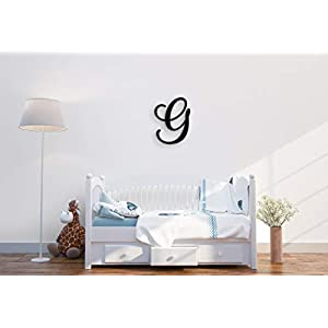 Giant Wall Decor Letters Uppercase G | 24″ Wood Paintable Script Capital Letters for Nursery, Home Décor, Wedding Guest Book and More by ROOM STARTERS (G 24″ Black 3/4″ Thick)