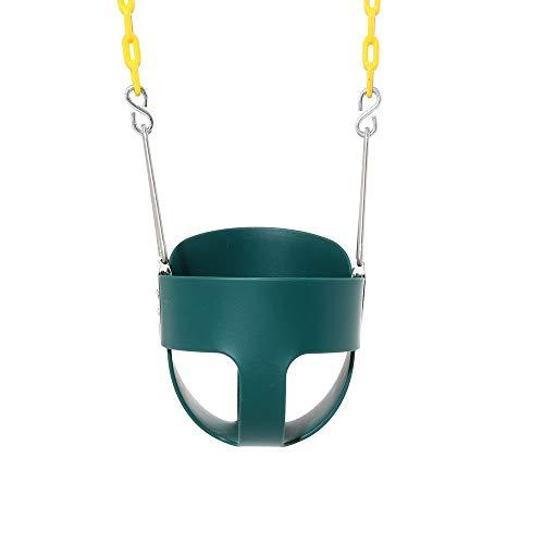 QinWenYan Columpio para Niños Volver Alta bebé oscilación del Asiento Marco secundario Asiento del Columpio con función de Seguridad para Jardín (Color : Verde, Size : 32x26x29cm)
