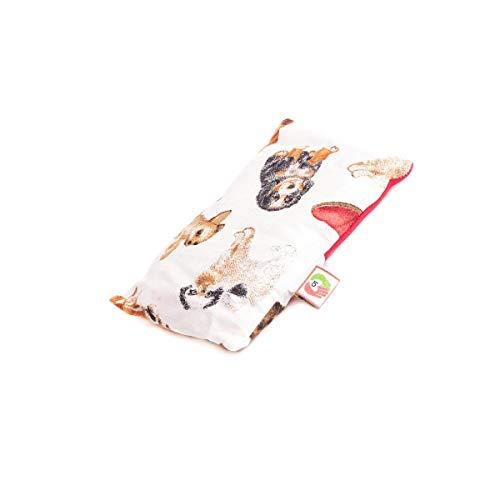 Cojín Anticólicos de Bebés - Saquito Térmico de Semillas Cólicos del Lactante para Microondas (15x10 cm) - Almohada para Cuna del Recién Nacido, Funda Lavable, Tela Algodón, Olor Lavanda (Perritos)