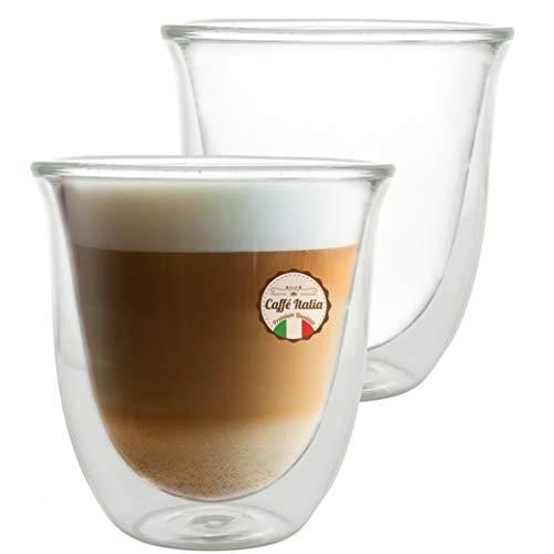 Caffé Italia Napoli 2 x 250 ml Doppelwandige Gläser - Thermogläser für Cappuccino Tee Heiß- und Kaltgetränke - spülmaschinengeeignet