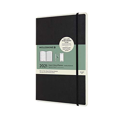 Moleskine - Smart Diary 12 Monate, Digitaler Kalender Planer 2021, Digitaler Wochenplaner, Wochenplanerverwaltung, Hard Cover, Format Groß 13 x 21, 176 Seiten, Farbe schwarz