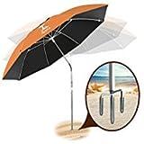 AosKe Patio Umbrella or Beach Umbrella Portable&Windproof 360 Tilt Mechanism Resistance to 100% Harmful Sunlight - Orange