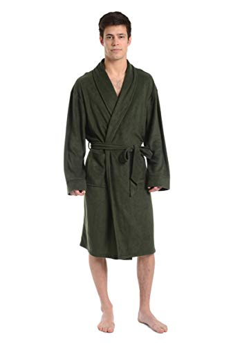 Cherokee Men Cozy Plush Robe Army, Green, Small