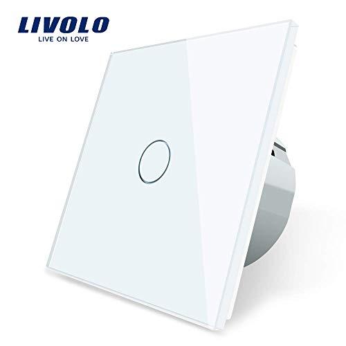 LIVOLO Interruptor de luz blanca con pantalla LED Sensor táctil de luz Panel de cristal de la UE Estándar 1 Pandilla 1 Interruptor de canal, VL-C701-11-A