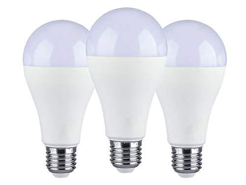 Lámpara LED LEDLUX 3 piezas E27 A65 15W Bombilla blanca esfera 1350 lúmenes disponibles 3 colores [Clase de eficiencia...