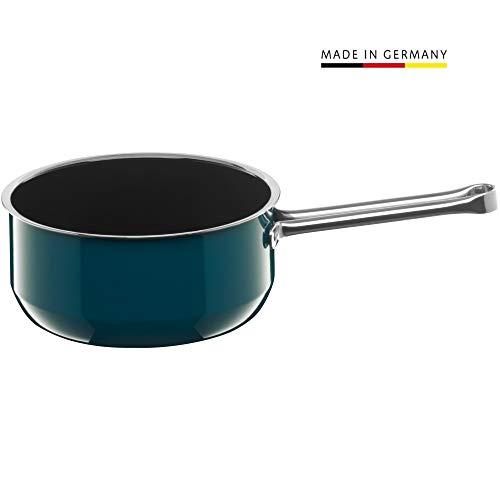 Silit Compact Stielkasserolle 18 cm, ohne Deckel, Schmortopf 1,8l, Induktion Kochtopf klein, Silargan Funktionskeramik, petrol