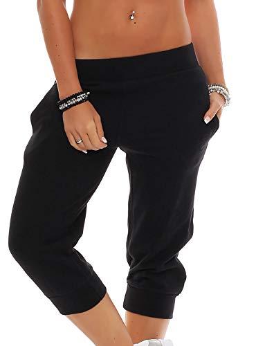 Gennadi Hoppe Damen 3/4 Trainingshose Sporthose Kurze Hose Sport Fitness Jogginghose Shorts Barmuda, schwarz,XL