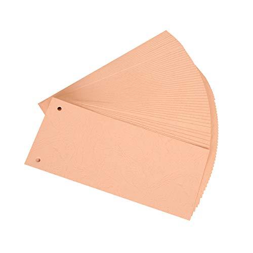 Trennstreifen 50 Stück 10,5 x 23,5cm Premium 2-fach lochung Trennlaschen Trennblätter aus recyceltem Manilapapier für perfektes Trennen der DIN-A4 Ordner & Akten, 2-Fach Gelocht (Orange)