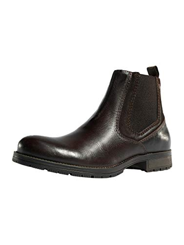 JACK & JONES Herren Chelsea Boots Stiefeletten Echtleder Stiefel Herrenschuhe (40 EU, Brown Stone)