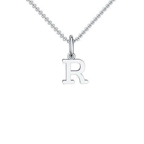 Buchstabenkette R Silber Buchstabenanhänger R + inkl. Luxusetui mit Gravur + Namenskette Namensanhänger Buchstabe R Kette Buchstabe R Buchstabenanhänger Buchstaben Anhänger Silber FF119-5 SS92545