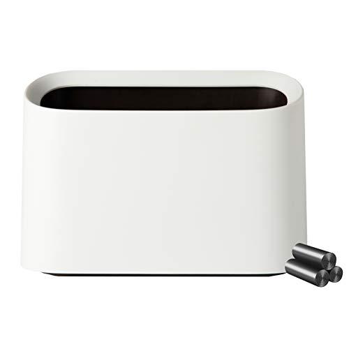 Busy Mom Desktop Kunststoff Mini Papierkorb Mülleimer & Make-up Halter, Arbeitsplatte Badezimmer Küche Auto, mit 60 Plastiktüten (weiß)