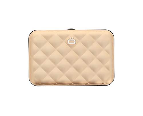 Ögon Smart Wallets - Quilted Button Aluminium Geldbörse für Damen, RFID-Blockierung, 10 Karten und Banknoten (Rose Gold)