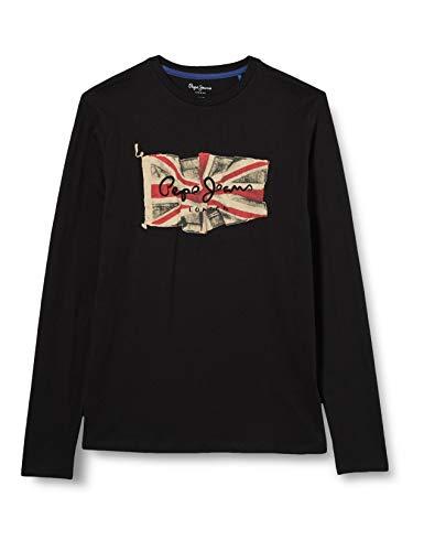 Pepe Jeans Flag Logo JR Camiseta, Negro (999), 10 para Niños