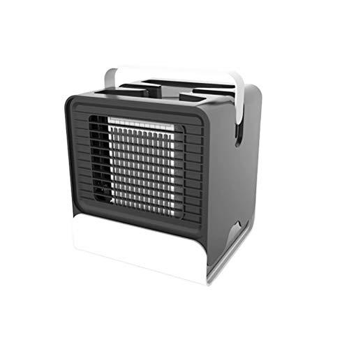 Mini ventilador de aire acondicionado de iones negativos, purificación efectiva del aire, diseño de 4 palas, sonido ligero y bajo nivel de ruido, adecuado para dormitorio / oficina / estudio -