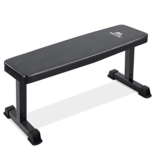 "MaxKare Flat Weight Bench Capacity 600lbs Workout Exercise Fitness Bench with 42"" Long 11.8"" Wide 2'' Thick Backrest Cushion for Home Gym Strength Training"