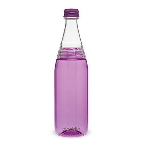 Aladdin Fresco Twist & Go Trinkflasche 0.6L Lila – doppelt Auslaufsicherer Deckel - Wasserflasche - für kohlensäurehaltige Getränke - BPA-Frei - Glatte Trinktülle - Spülmaschinenfest