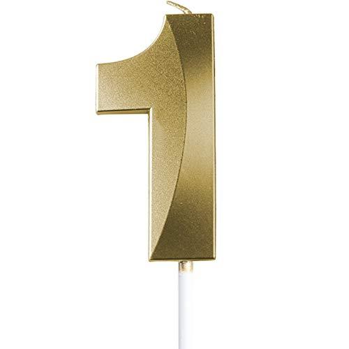 "saizone Velas de Números, Velas numéricas para Tarta de cumpleaños, Decoraciones para Tartas, Velas de cumpleaños, Color Dorado champán, decoración para Tartas con Purpurina 0-9.""1"""
