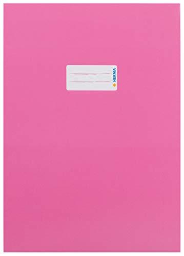 HERMA 19749 Karton Heftumschlag DIN A4 mit Beschriftungsetikett, aus stabilem und extra starkem Papier, Heftschoner für Schulhefte, pink