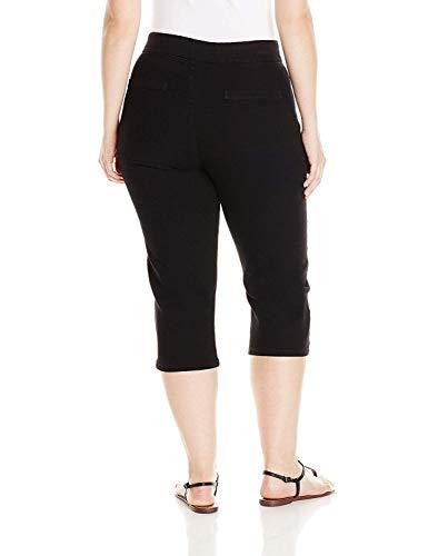 Chic Classic Collection Women's Plus-Size Easy Fit Elastic Waist Pull-On Capri, Black Denim, 18W