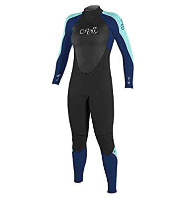 O'Neill Women's Epic 3/2mm Back Zip Full Wetsuit, Black/Navy/Seaglass, 10