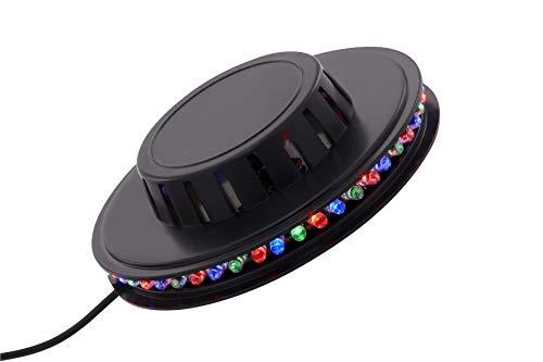 Briloner Leuchten - LED Lichtrad, Partylicht inkl. Musiksensor, musikgesteuerter Farbwechsel, 48x RGB-LED, inkl. 2m USB-Kabel, IP20, Schwarz, 125x38mm (DxH)