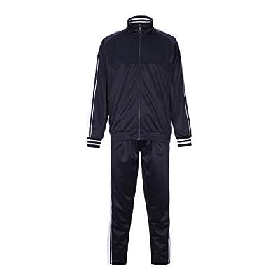 R RAMBLER 1985 Men Activewear Tracksuit Side Stripe Zipper Jacket Jogging Athletic Suit Casual Full Zip Sweatsuit(Navy Blue,XL)