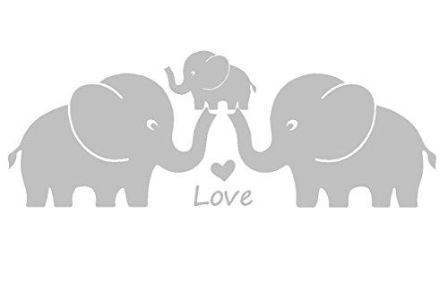 Tres lindos elefantes padres y niño familia Wall Decal corazones del amor familia palabras bebe elefante vinilo pegatinas de pared para la decoracion de la habitacion del cuarto de niños del bebe (gra