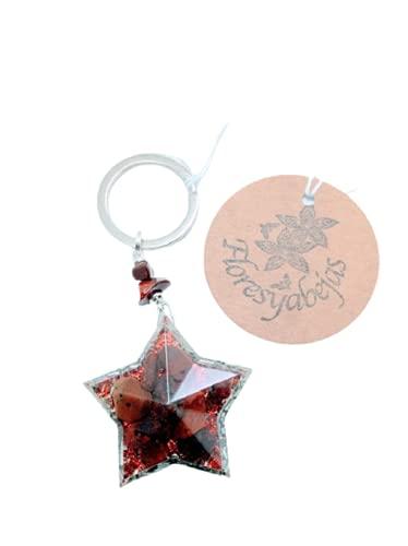 Floresyabejas Llavero de orgón en forma de estrella de 5 puntas con jaspe rojo, llavero de orgón, llavero de jaspe rojo, llavero de estrella