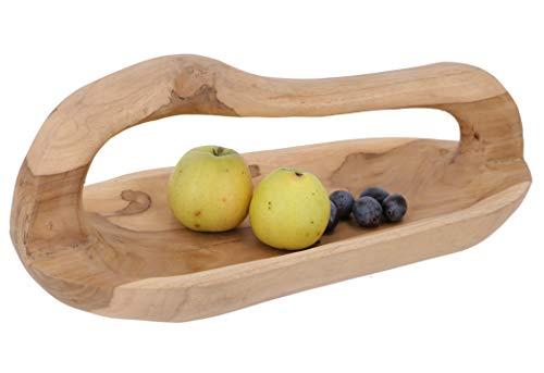 Guru-Shop Fruitschaal, Gesneden Houten Schaal met Handvat, Rustieke Broodschaal, 20x50x22 cm, Kommen