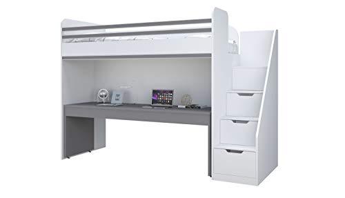 Polini City Hochbett Kombination mit Treppe und großem Schreibtisch grau