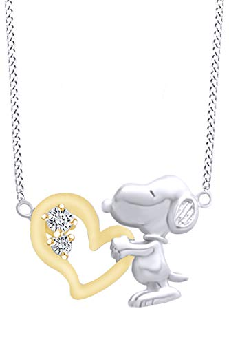 AFFY White Cubic Zirconia Snoopy Heart Two Tone Pendant Necklace in 14k White Gold Over Sterling Silver