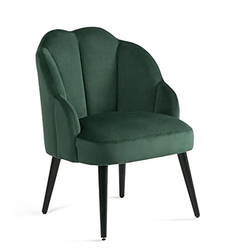 Samt Sessel mit Gebogenen Armlehnen Wohnzimmer Modern Relax Barock Stuhl für Schminktisch mit Rückenlehne Armlehnenstuhl Ohrensessel Polsterstuhl mit Armlehne Sessel Dunkelgrün