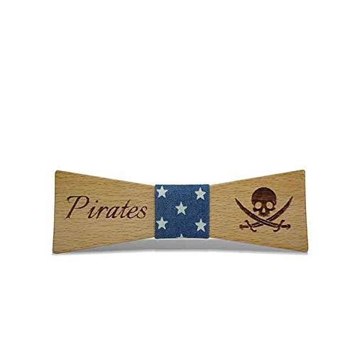 ZSRHH-Neckchiefs Halstücher Herrenmode aus Holz Herren Fliege Gravur Pirat Krawatte Holzknoten Hochzeit Hochzeit Fliege (Farbe : Navy Blue, Größe : 5 * 9.5cm)